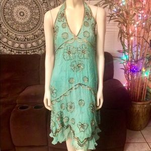 Adrianna Papell Teal Beaded Evening Dress 👗 P10